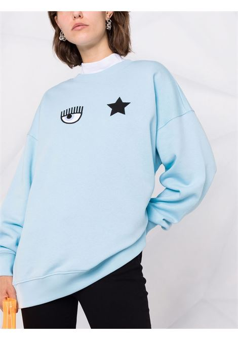 Felpa con logo Eyestar in azzurro - donna CHIARA FERRAGNI | 71CBIT02CFC0T216