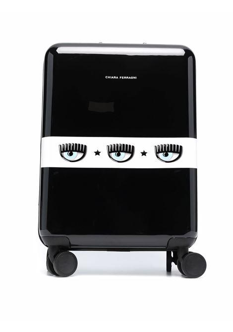 Black logomania combination-lock suitcase - women  CHIARA FERRAGNI   71SB0LA1ZS143899