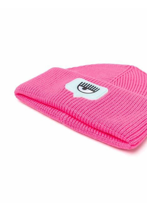 Pink logo patch ribbed beanie - women  CHIARA FERRAGNI   71SBZK35ZG038437