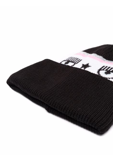 Black Logomania knit beanie hat - women CHIARA FERRAGNI   71SBZK40ZG039LS1