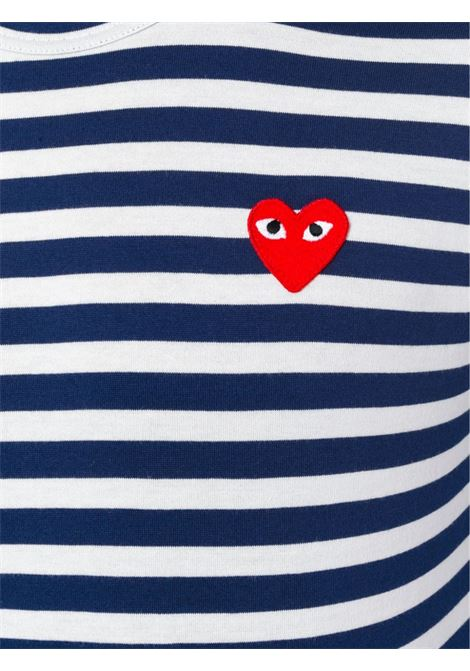 T-shirt a maniche lunghe con design a righe in bianco e blu - uomo COMME DES GARCONS PLAY | P1T0101