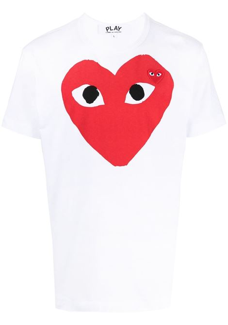 T-shirt heart eyes in bianco - uomo COMME DES GARCONS PLAY | P1T0261
