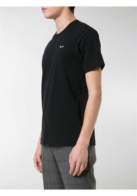 T-shirt a girocollo heart in nero - uomo COMME DES GARCONS PLAY | P1T0641