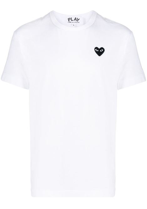 T-shirt a girocollo heart in bianco - uomo COMME DES GARCONS PLAY | P1T0642