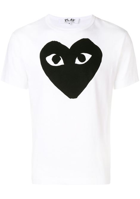 T-shirt Heart eyes in bianco - uomo COMME DES GARCONS PLAY | P1T0701