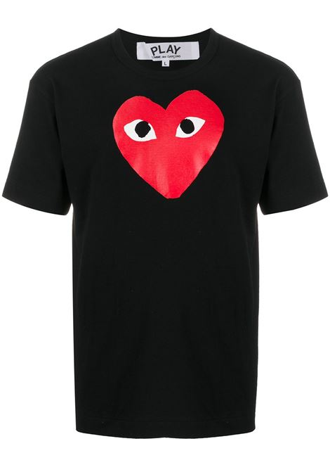T-shirt Heart eyes in nero - uomo COMME DES GARCONS PLAY | P1T1121