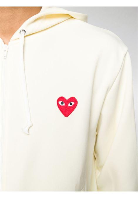 Felpa heart con cappuccio in bianco - uomo COMME DES GARCONS PLAY | P1T1723