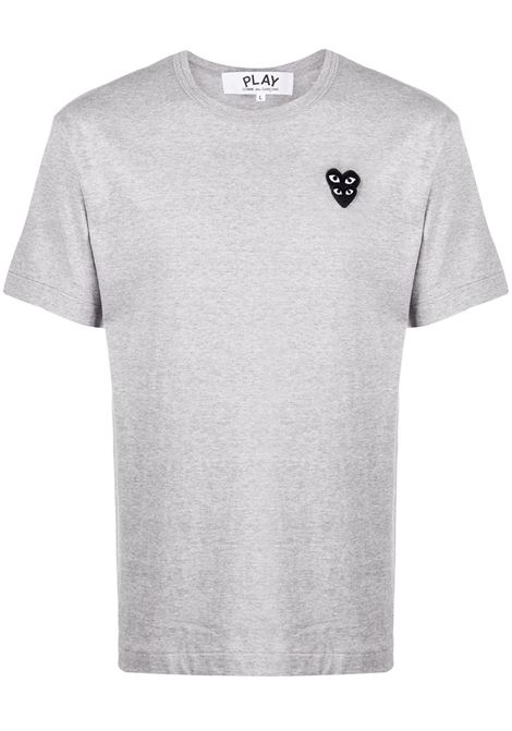 T-shirt double heart in grigio - uomo COMME DES GARCONS PLAY | P1T2961