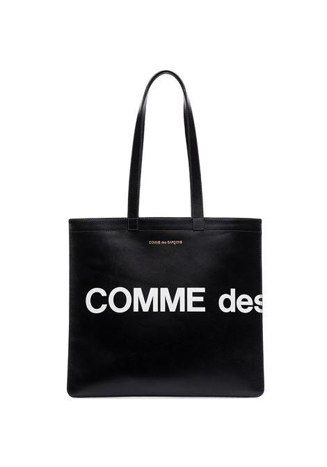 Borsa a mano con logo a contrasto in nero - unisex COMME DES GARCONS WALLET | SA9001HLBLK
