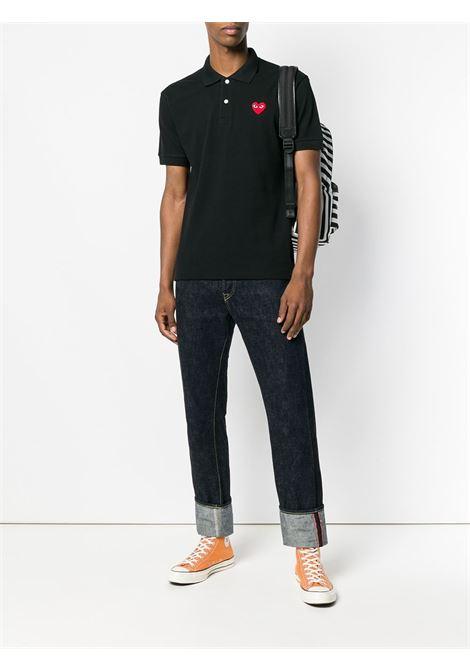 Polo con logo ricamato in nero - uomo COMME DES GARCONS PLAY | P1T0061