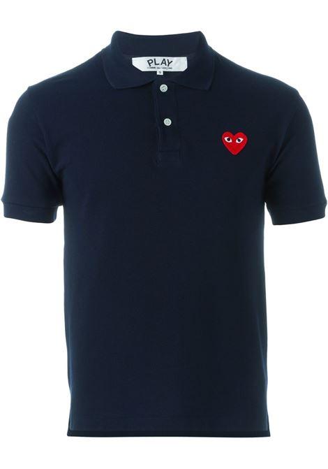 Polo con logo ricamato in blu - uomo COMME DES GARCONS PLAY | P1T0062