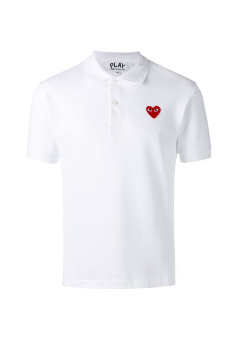 Polo con logo ricamato in bianco - uomo COMME DES GARCONS PLAY | P1T0063