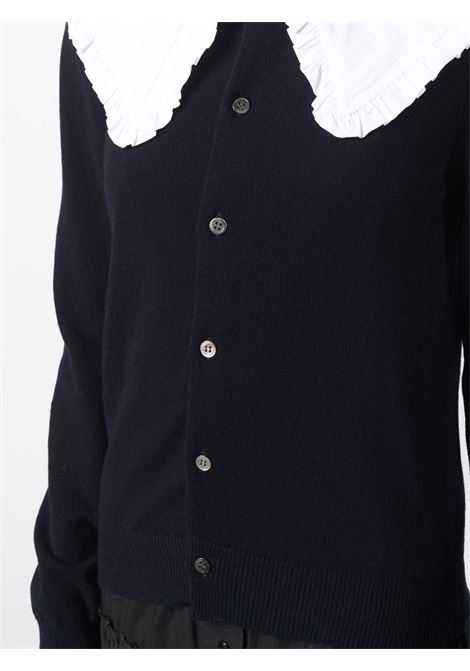 Cardigan girocollo in blu scuro - donna COMME DES GARCONS   RHN0070512