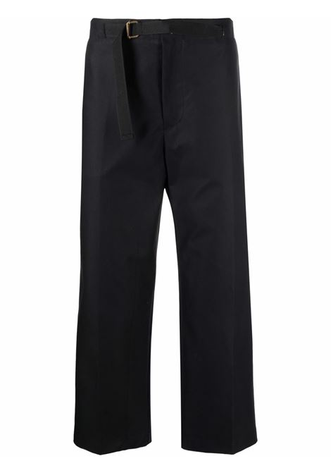 Belted wide-leg cropped trousers in black - men COSTUMEIN | CR071024