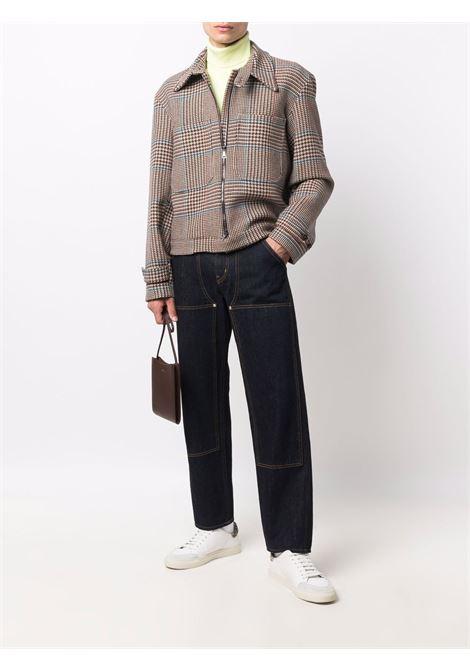 Windowpane check pattern jacket in beige,brown and blue - men COSTUMEIN | CR19B1101