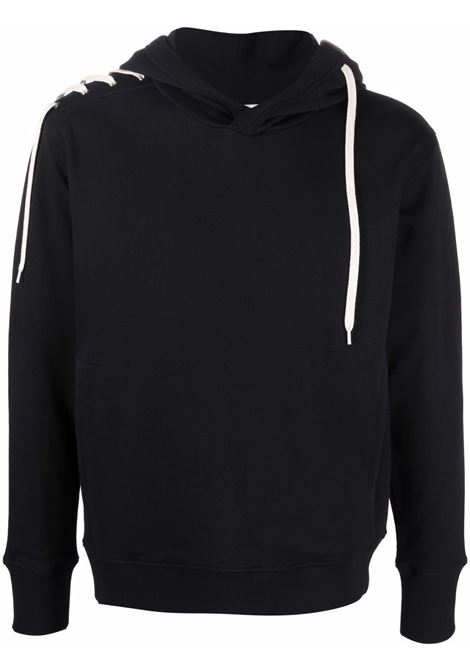 Laced pullover sweatshirt in black and cream - men  CRAIG GREEN | CGAW21CJEHDY01BLKCRM