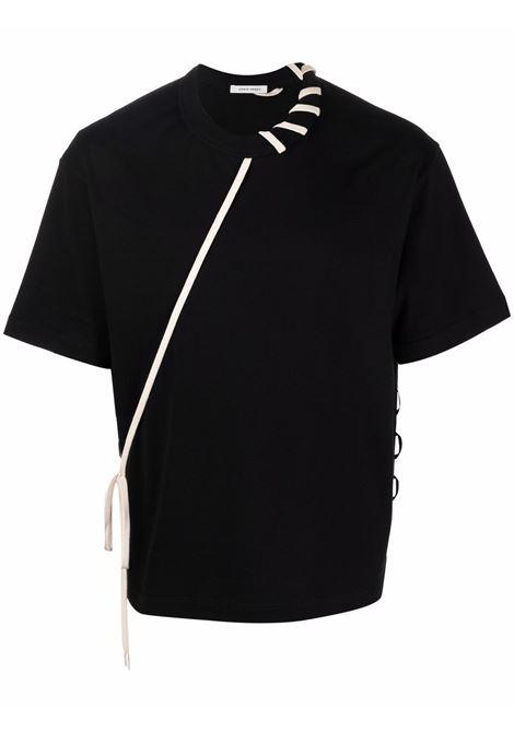 Laced short-sleeve T-shirt in black and cream - men  CRAIG GREEN | CGAW21CJETSS01BLKCRM