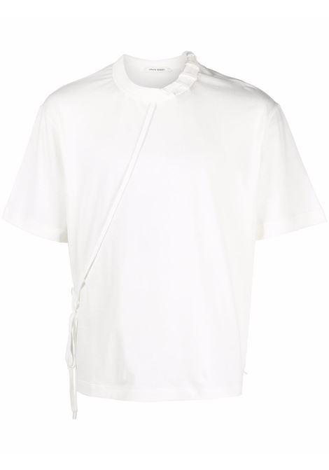 Laced short-sleeve T-shirt in white - men  CRAIG GREEN | CGAW21CJETSS01WHT