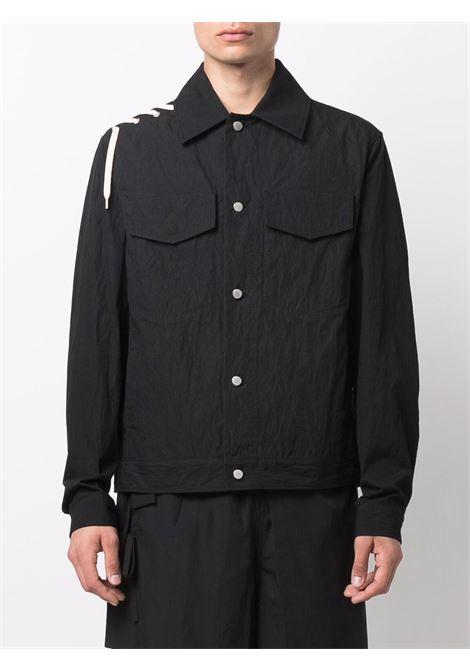 Lace-up cotton shirt jacket in black - men  CRAIG GREEN | CGAW21CWOJKT02BLK