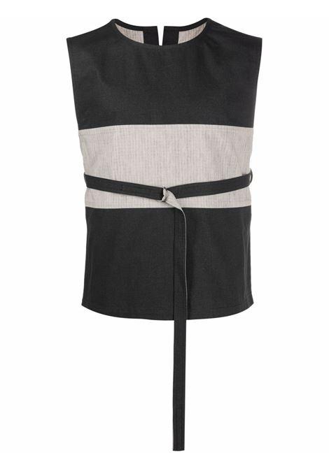 Sleeveless cotton cargo vest in black and grey - men  CRAIG GREEN | CGAW21CWOVST04BLK