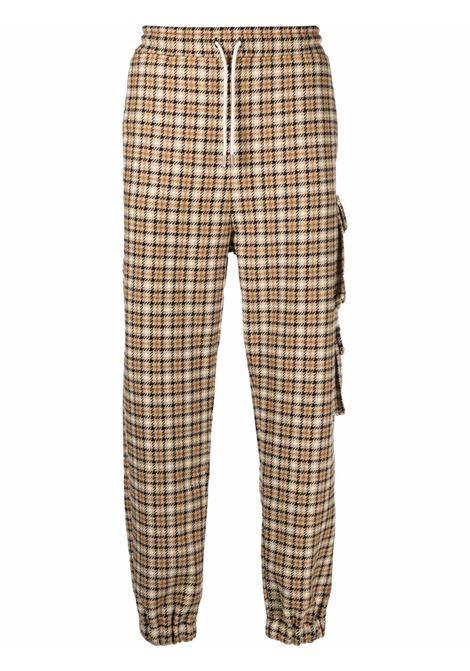 Check-pattern cargo trousers in beige and brown - men DRÔLE DE MONSIEUR   FW21BP005BG