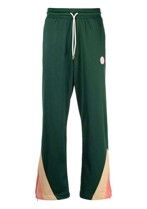 Panelled straight track trousers in green and multicolour - men DRÔLE DE MONSIEUR   FW21BP008GN