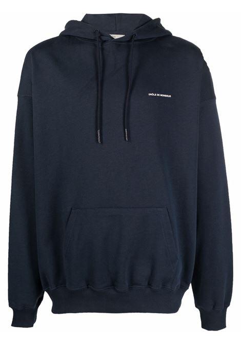 Logo-print sweatshirt in navy-blue and white - men DRÔLE DE MONSIEUR   FW21HO004NY
