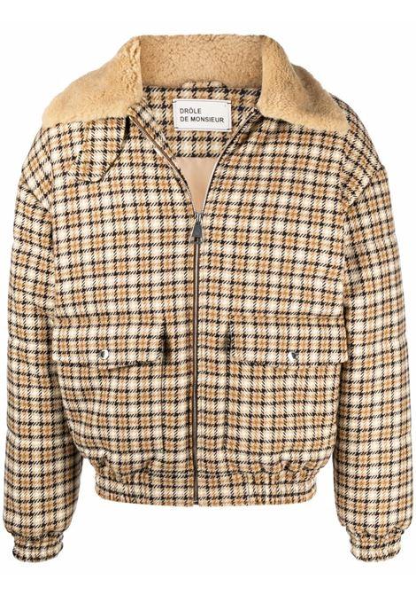 Check-print shearling-trimmed jacket in beige and off-white - men DRÔLE DE MONSIEUR   FW21JT004BG