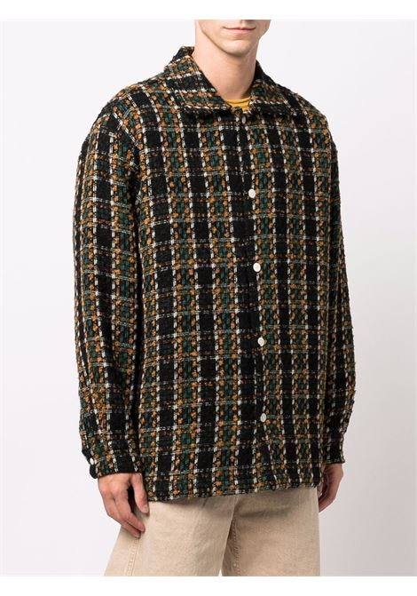 Check-woven knitted shirt brown, green and mustard - men DRÔLE DE MONSIEUR   FW21JT013BW