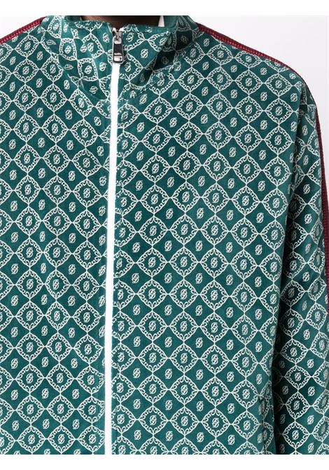 Geometric-print zip-up sweatshirt in tonal green - men DRÔLE DE MONSIEUR   FW21JT014GN