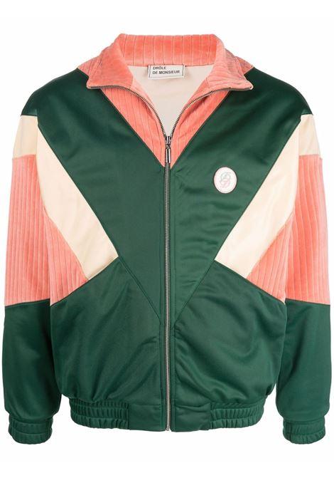 Panelled zip-up bomber sweatshirt in green, pink and beige - men DRÔLE DE MONSIEUR   FW21JT015GN