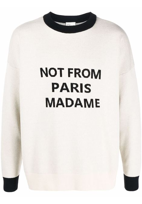 Slogan-print knitted jumper in sand-beige and black - men DRÔLE DE MONSIEUR   FW21KR007BG