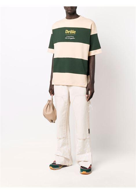 T-shirt a righe con logo in verde e beige - uomo DRÔLE DE MONSIEUR | FW21TS004GN