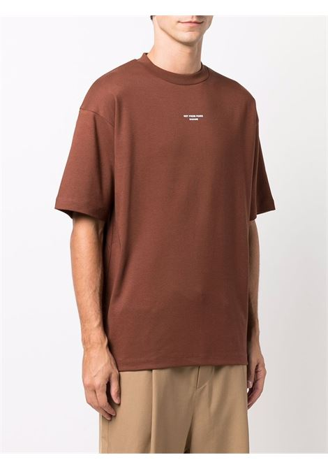 T-shirt con slogan Not From Paris Madame in marrone - uomo DRÔLE DE MONSIEUR | FW21TS008BW