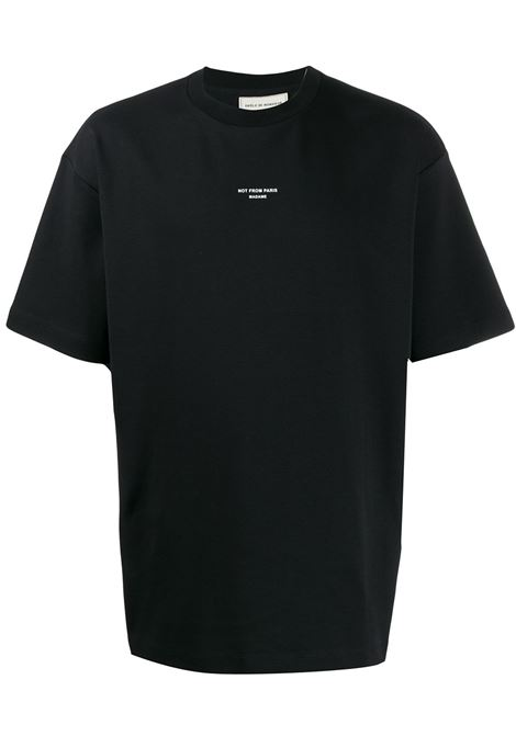 T-shirt con slogan Not From Paris Madame in nero - uomo DRÔLE DE MONSIEUR | PERMP01BL