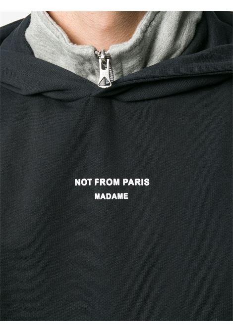 Felpa con slogan Not From Paris Madame in nero - uomo DRÔLE DE MONSIEUR | PERMP04BL