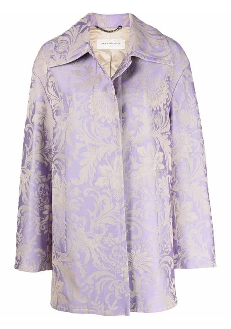 Lilac floral jacquard single breasted coat - women  DRIES VAN NOTEN   2120105133320403