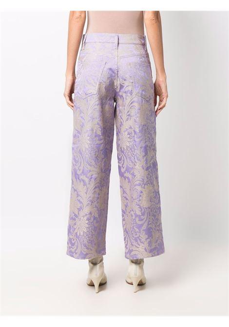 Lilac jacquard wide-leg jeans - women  DRIES VAN NOTEN   2120124053320403