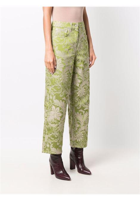 Green jacquard wide-leg jeans - women  DRIES VAN NOTEN   2120124053320604