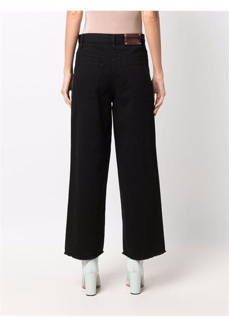 Black jacquard wide-leg jeans - women  DRIES VAN NOTEN   2120124053378900