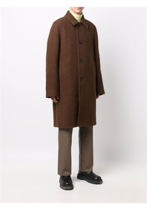 Rust-colored midi single breasted coat - men  DRIES VAN NOTEN | 2120202203270701