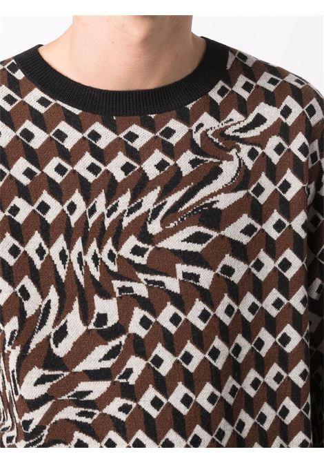 Tim jumper with geometric pattern in brown - men  DRIES VAN NOTEN | 2120212803700703