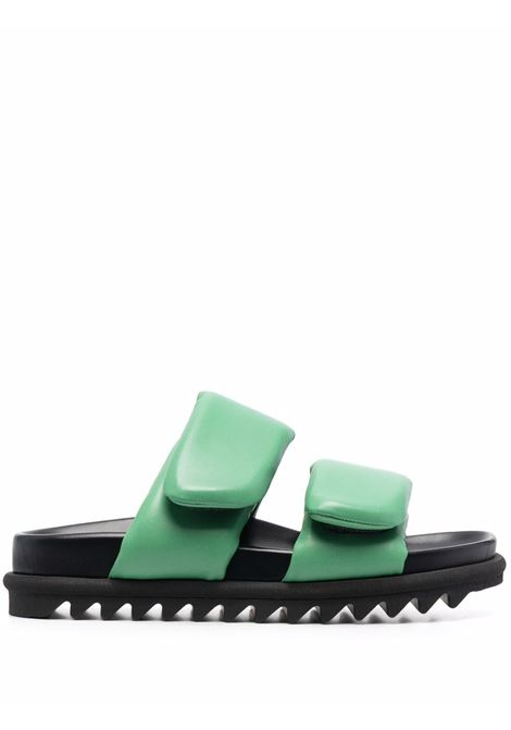 Mint-colored padded touch-strap slides - women  DRIES VAN NOTEN   WW212171101608