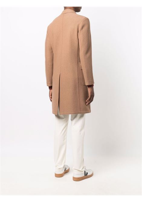 Fitted double-breasted coat camel brown - men  ELEVENTY | D70CAPB01CAS2400403
