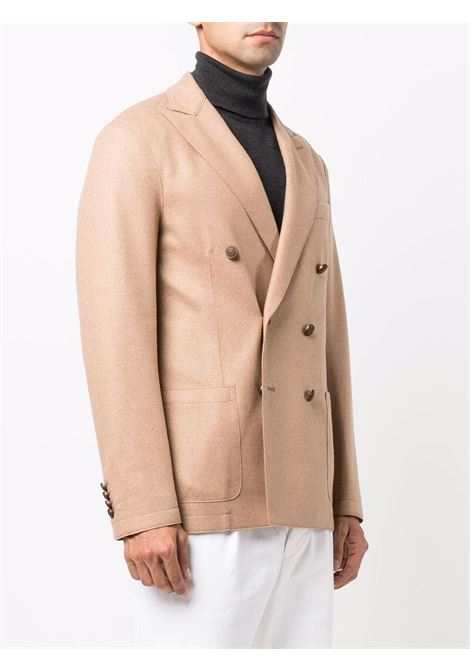 Double-breasted tailored blazer camel-brown - men ELEVENTY | D70GIAA02JAC2401804A