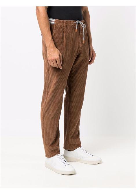 Pantaloni a coste con coulisse marrone - uomo ELEVENTY | D70PAND04TET0D00725