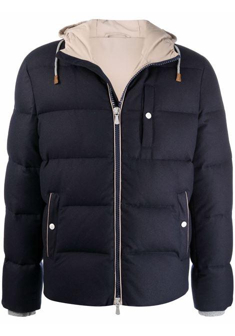 Bimaterico wool padded jacket in navy blue - men  ELEVENTY | D75GBTD08TES0D1161103