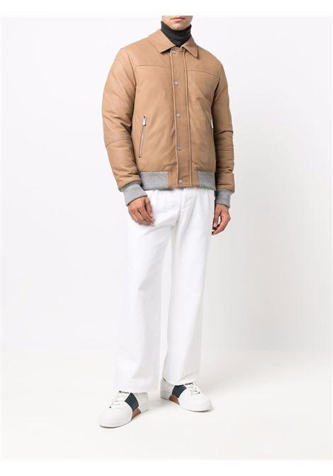Zip-up leather down jacket beige - men  ELEVENTY | D75GBTD18PEL0D00302