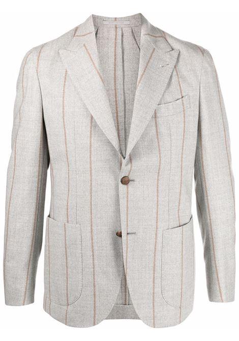 Blazer monopetto con stampa gessata in grigio - uomo ELEVENTY | D75GIAC12TES0D00213
