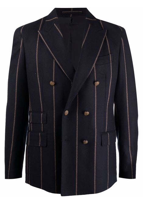 Pinstripe double-breasted blazer in blue - men  ELEVENTY | D75GIAC14TES0D00211